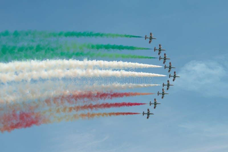 Frecce Tricolori Italiian飞行表演队 库存照片