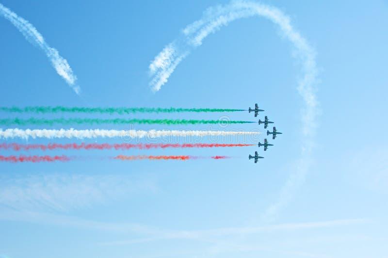 Frecce Tricolori, Pattuglia Acrobatica Nazionale I fotografie stock libere da diritti