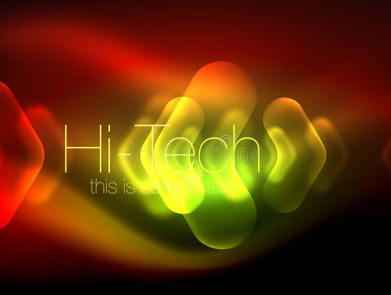 Frecce vaghe nello spazio scuro Puntatori al neon, progettazione lucida di vetro, fondo techno brillante astratto, insegna di web royalty illustrazione gratis