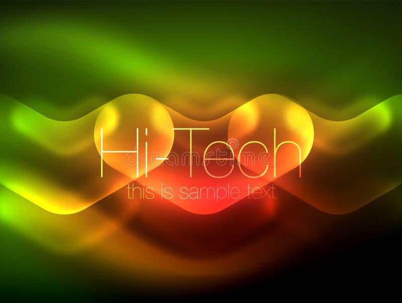 Frecce vaghe nello spazio scuro Puntatori al neon, progettazione lucida di vetro, fondo techno brillante astratto, insegna di web illustrazione di stock