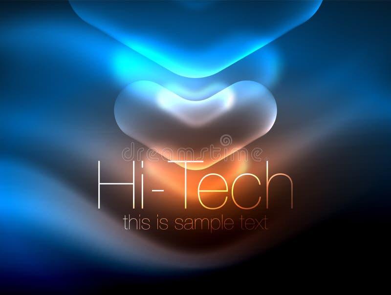 Frecce vaghe nello spazio scuro Puntatori al neon, progettazione lucida di vetro, fondo techno brillante astratto, insegna di web illustrazione vettoriale