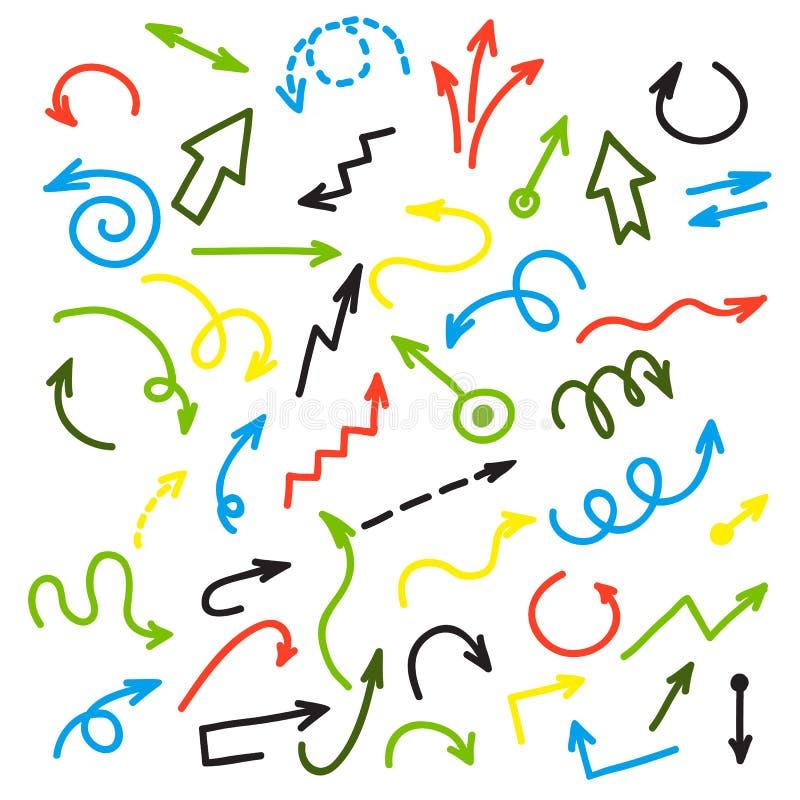Frecce variopinte dell'inchiostro Gruppo di vettore di freccia di disegno su fondo bianco royalty illustrazione gratis