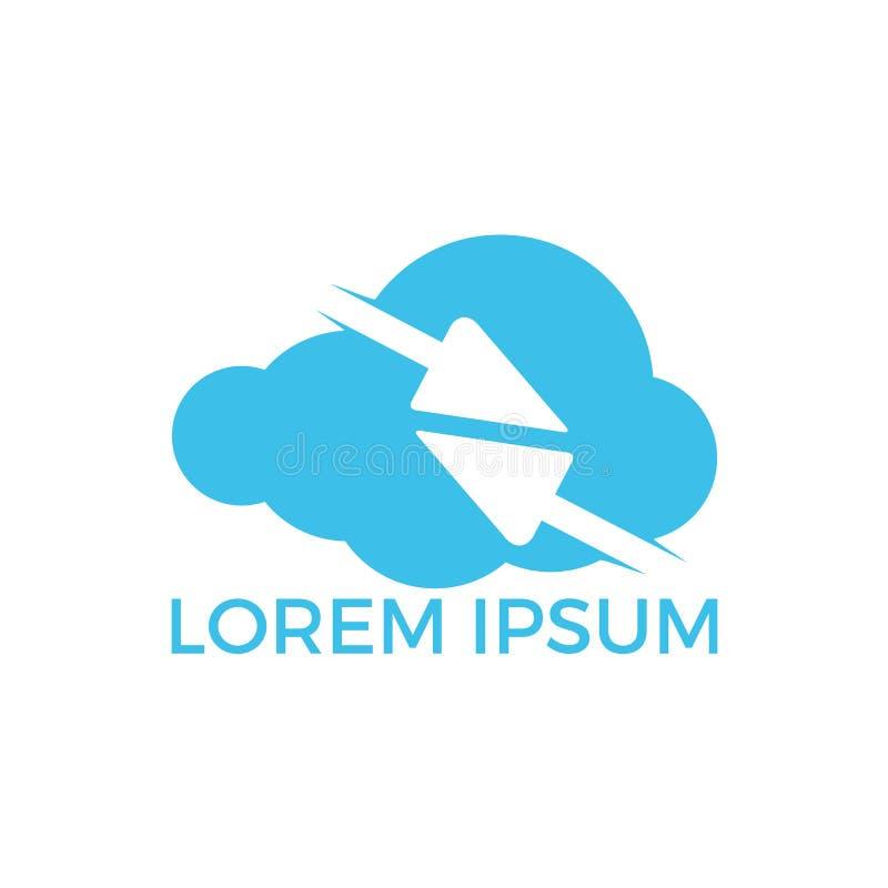 Frecce veloci dentro progettazione di logo di forma della nuvola La tecnologia si collega con la freccia attraverso le nuvole royalty illustrazione gratis