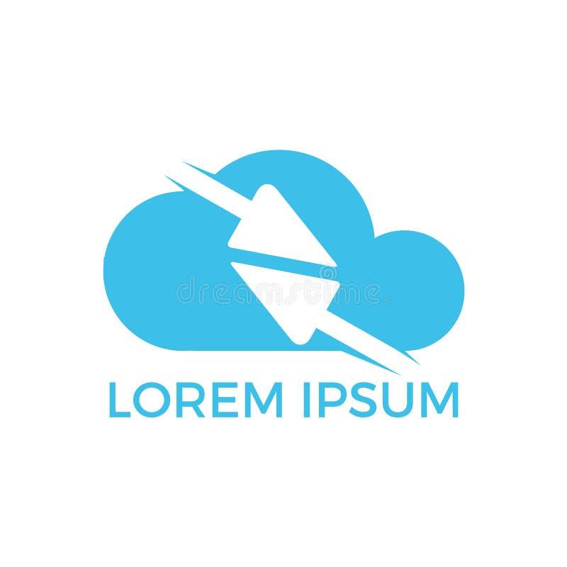 Frecce veloci dentro progettazione di logo di forma della nuvola La tecnologia si collega con la freccia attraverso le nuvole illustrazione di stock
