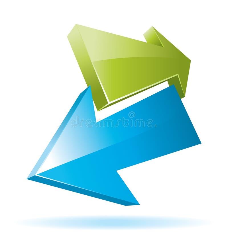 Frecce verdi e blu di vettore 3d illustrazione vettoriale