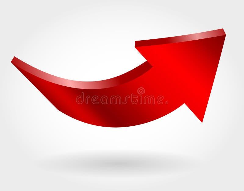 Freccia alta rossa e fondo bianco neutrale illustrazione 3D illustrazione di stock