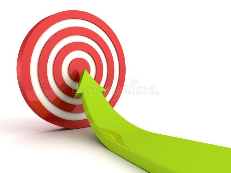 Freccia in aumento verde che indica nel centro dell'obiettivo rosso illustrazione di stock