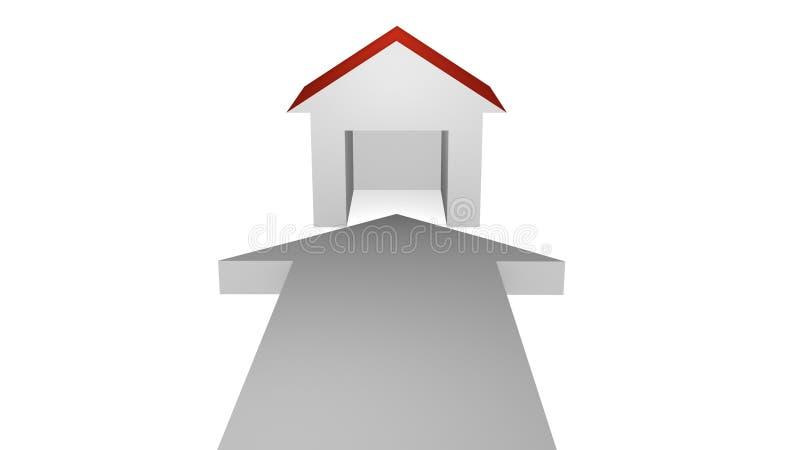 Freccia bianca con la casa illustrazione di stock