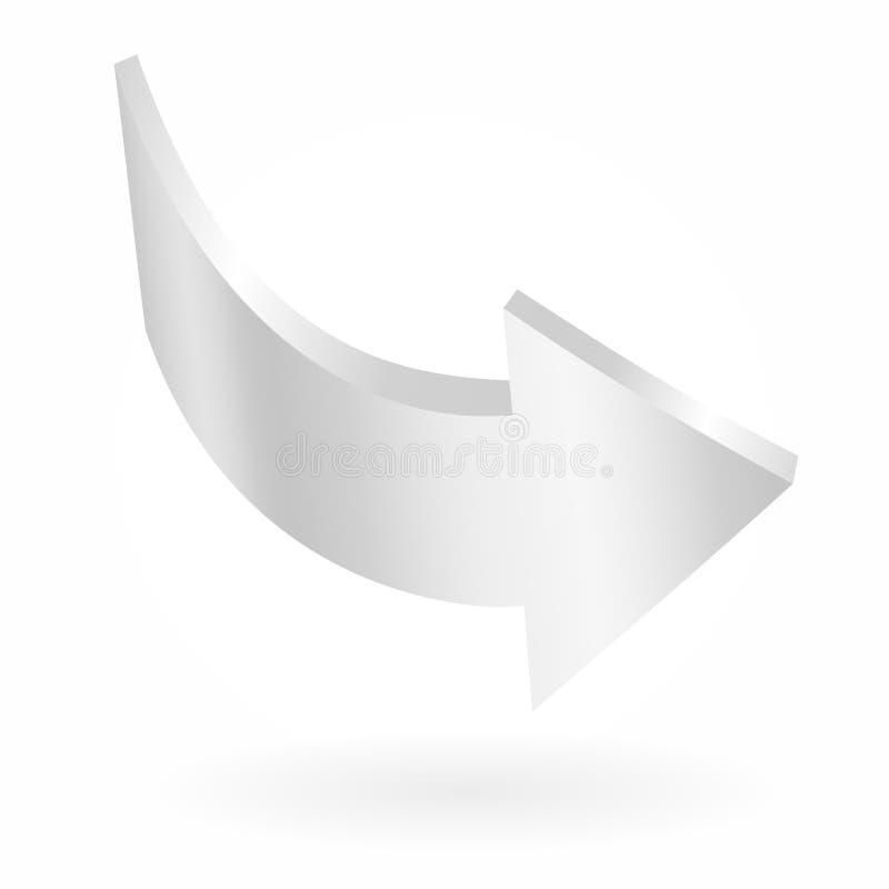 Freccia bianca Segno circolare isolato di vettore illustrazione di stock
