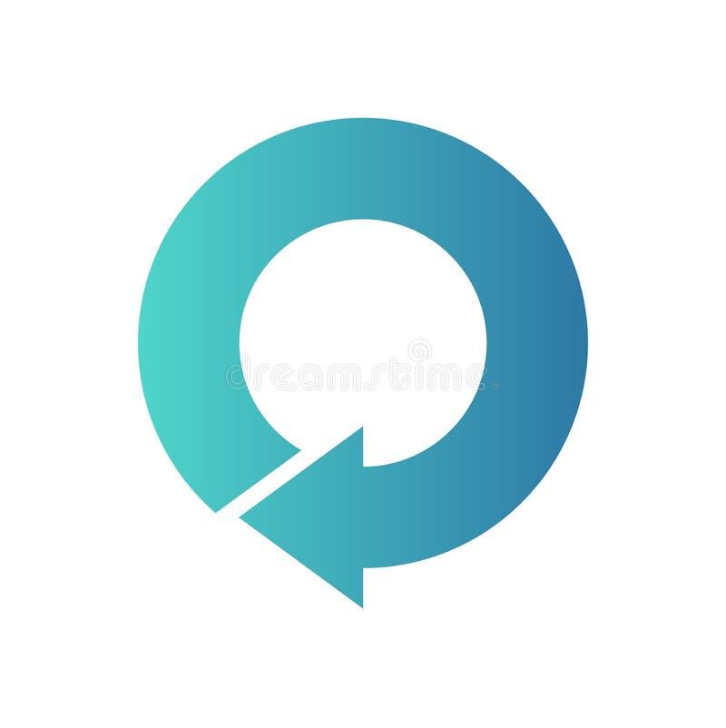 Freccia blu di nuovo all'inizio della forma del cerchio illustrazione vettoriale