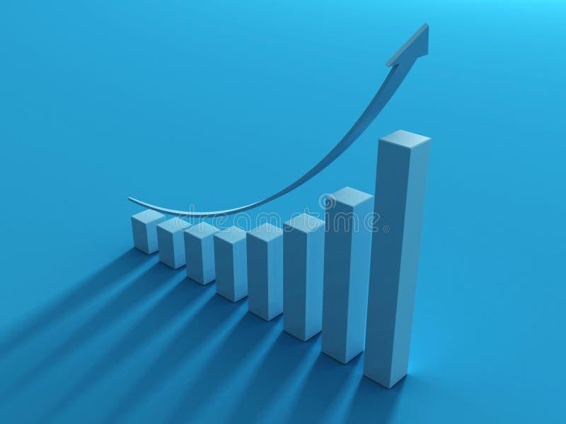 Freccia blu e sviluppo del diagramma a colonna in su con ombra illustrazione di stock