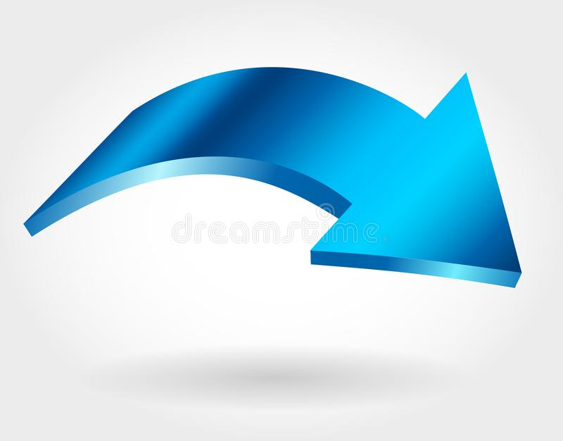 Freccia blu Icona isolata di vettore di curvatura illustrazione vettoriale