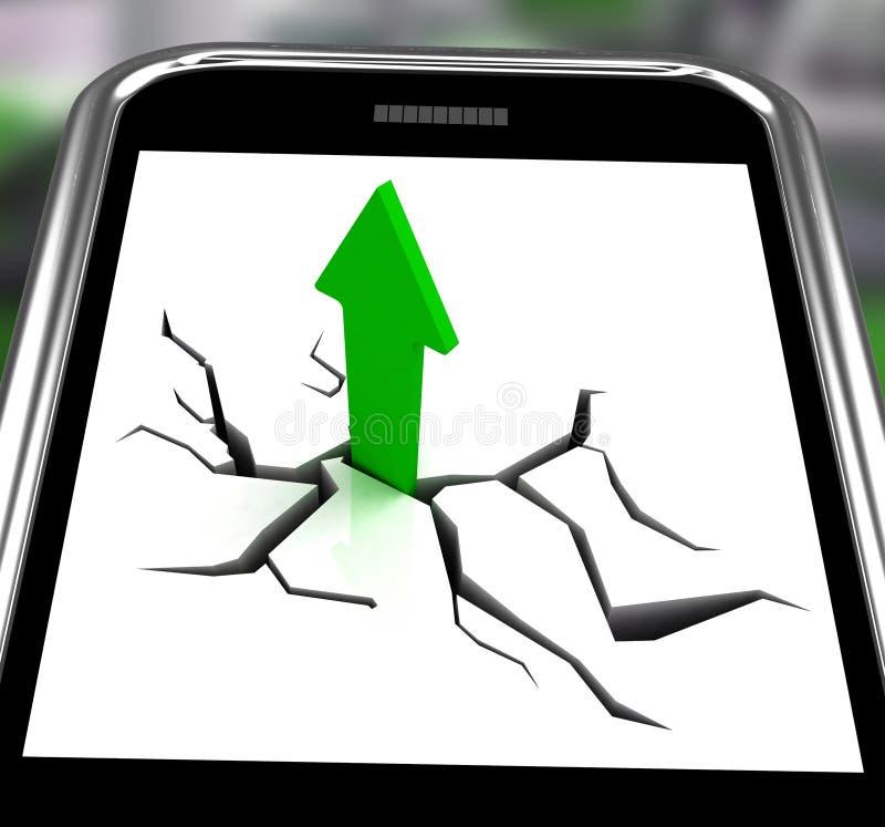 Freccia che va su su Smartphone che mostra le vendite aumentate illustrazione vettoriale