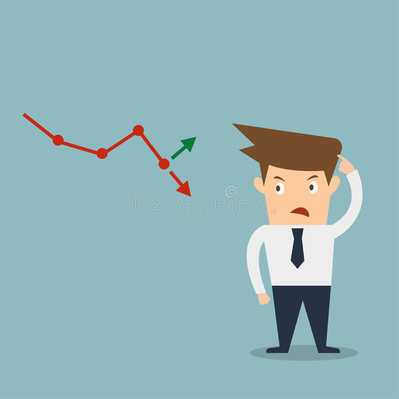 Freccia confusa del mercato azionario dell'uomo di affari illustrazione vettoriale