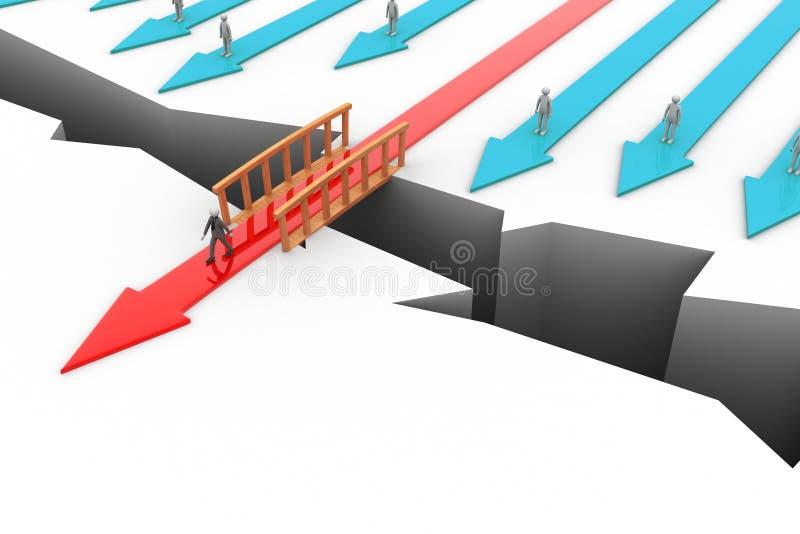 Freccia crescente attraverso il ponte illustrazione vettoriale