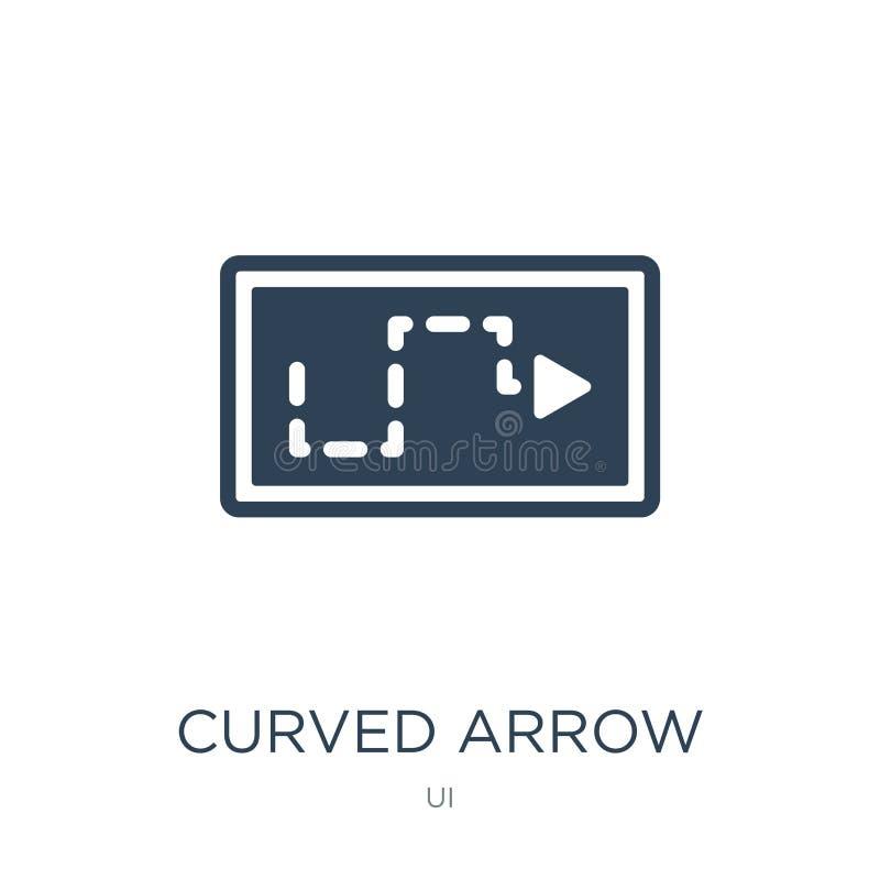 freccia curva con la linea tratteggiata icona nello stile d'avanguardia di progettazione freccia curva con la linea tratteggiata  illustrazione di stock