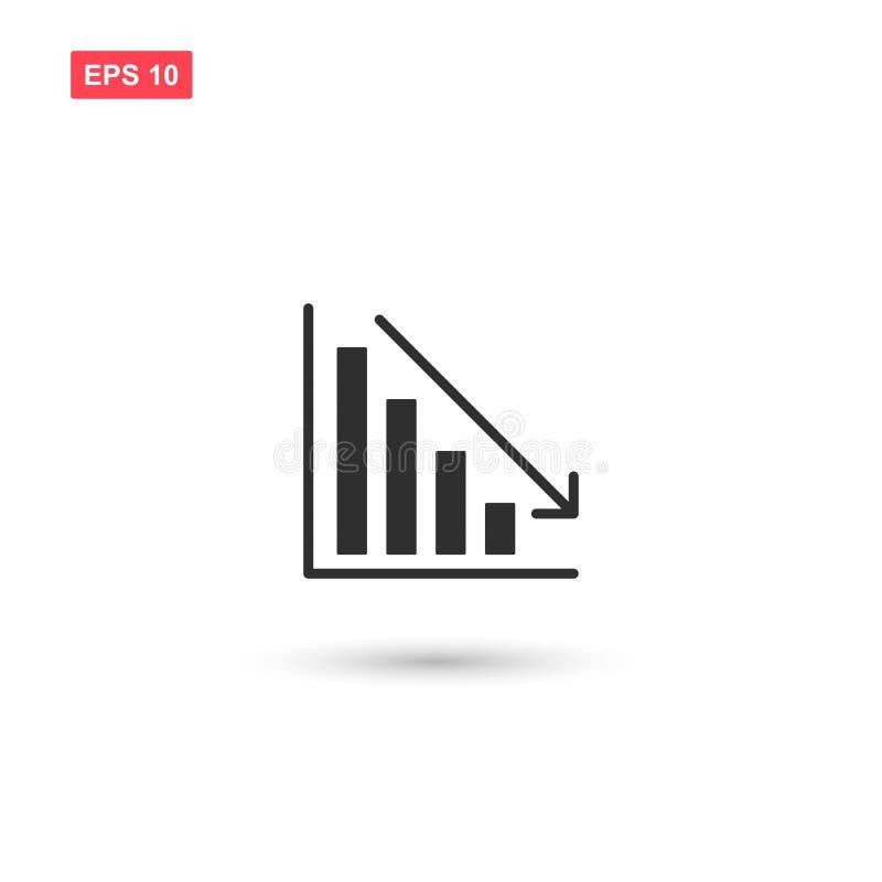Freccia del grafico commerciale giù il vettore isolata illustrazione di stock
