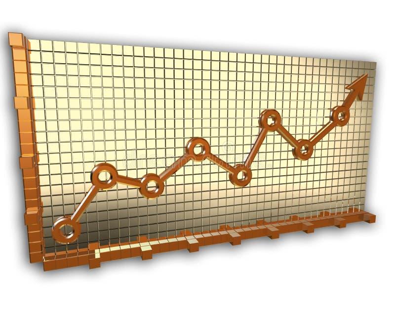 Freccia del grafico dell'oro illustrazione vettoriale