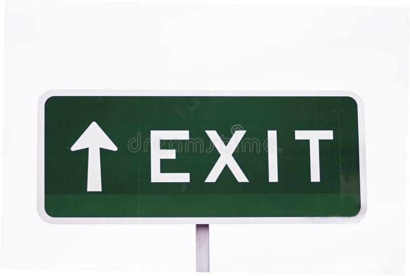 Freccia del segno dell'uscita che indica sul fondo bianco ascendente immagine stock libera da diritti
