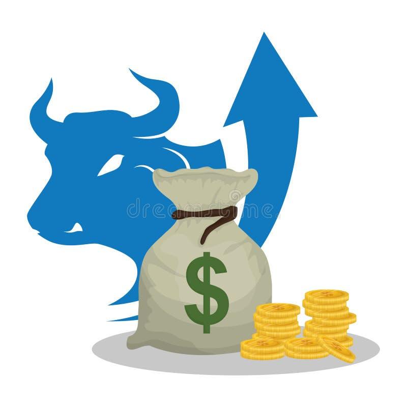 Freccia del toro dei contanti dei soldi della borsa illustrazione di stock