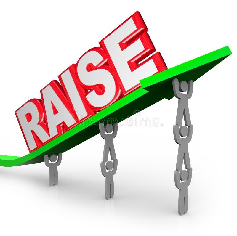 Freccia dell'ascensore dei lavoratori di reddito aumentata parola di aumento di paga illustrazione vettoriale