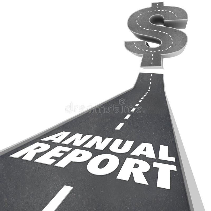 Freccia della strada del rapporto annuale che coltiva i risultati finanziari illustrazione di stock