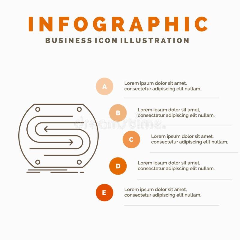 freccia di affari, concetto, convergenza, partita, modello di Infographics del passo per il sito Web e presentazione Linea icona  royalty illustrazione gratis