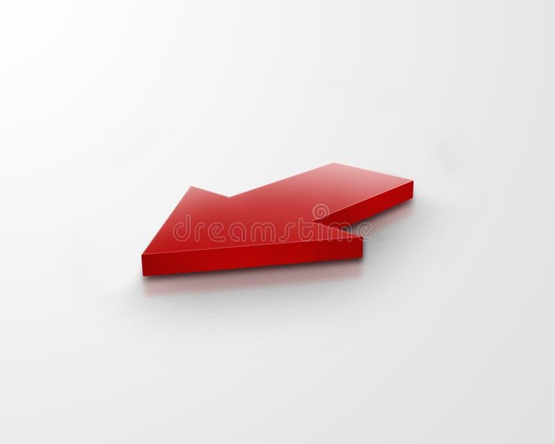 freccia di colore rosso 3d illustrazione di stock