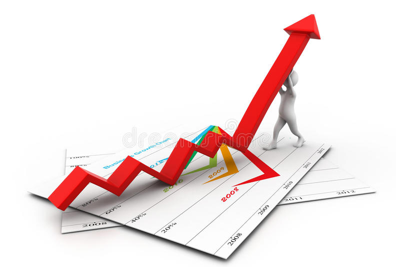 Freccia di crescita di salita dell'uomo illustrazione di stock