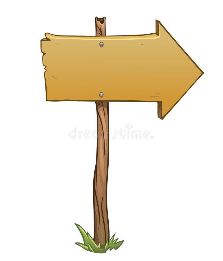 Freccia di legno del segno di vettore isolata su bianco illustrazione vettoriale