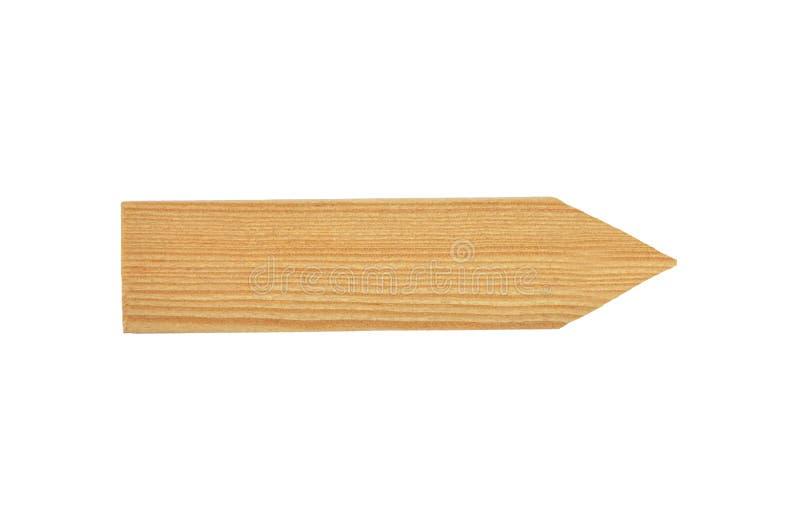 Freccia di legno di direzione su fondo bianco immagini stock