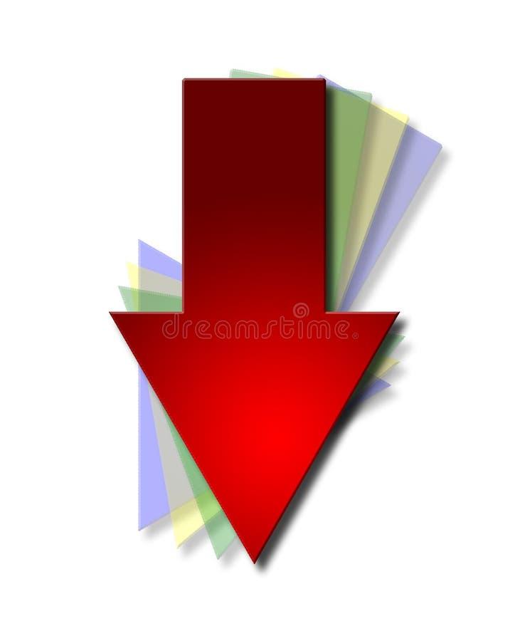 Freccia di trasferimento dal sistema centrale verso i satelliti illustrazione di stock