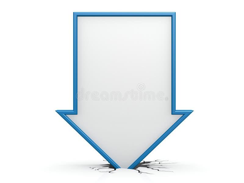 Freccia diritta blu giù illustrazione di stock