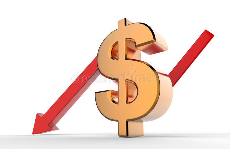 Freccia discendente di crescita con il segno di simbolo del dollaro 3d Concetto di recessione economica illustrazione 3D illustrazione vettoriale