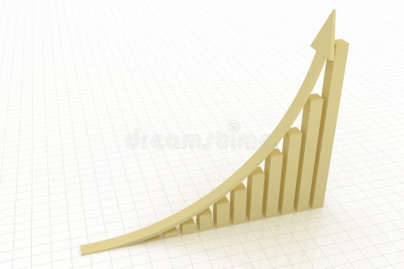 Freccia dorata di aumento con il grafico illustrazione vettoriale