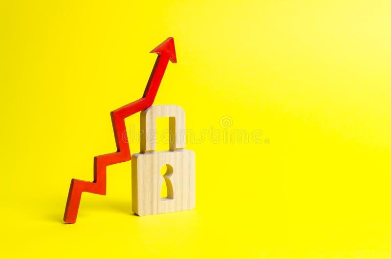 Freccia e lucchetto alti rossi su fondo giallo Crescita concettuale del livello e della qualità di protezione Altamente efficace fotografia stock