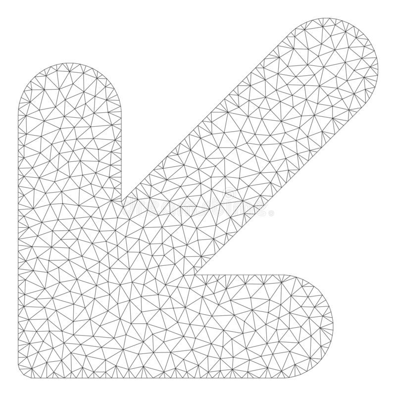 Freccia giù il vettore poligonale sinistro Mesh Illustration della struttura illustrazione di stock