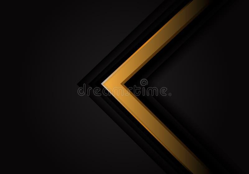 Freccia gialla astratta 3D sul fondo futuristico moderno di vettore di progettazione nera illustrazione di stock
