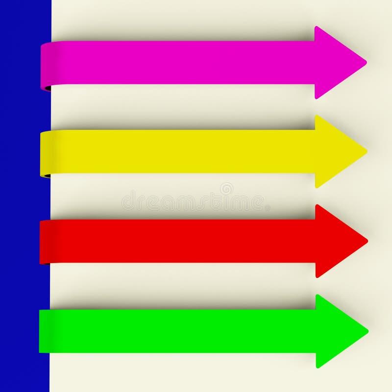 Freccia lunga multicolore quattro illustrazione vettoriale