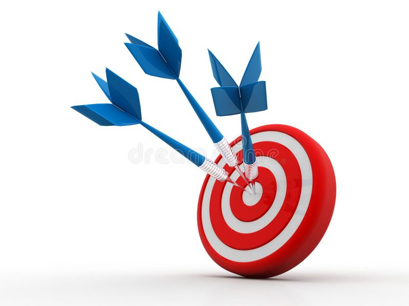 Freccia nell'obiettivo 3D colpire di successo Concetto di affari Isolato su bianco illustrazione vettoriale
