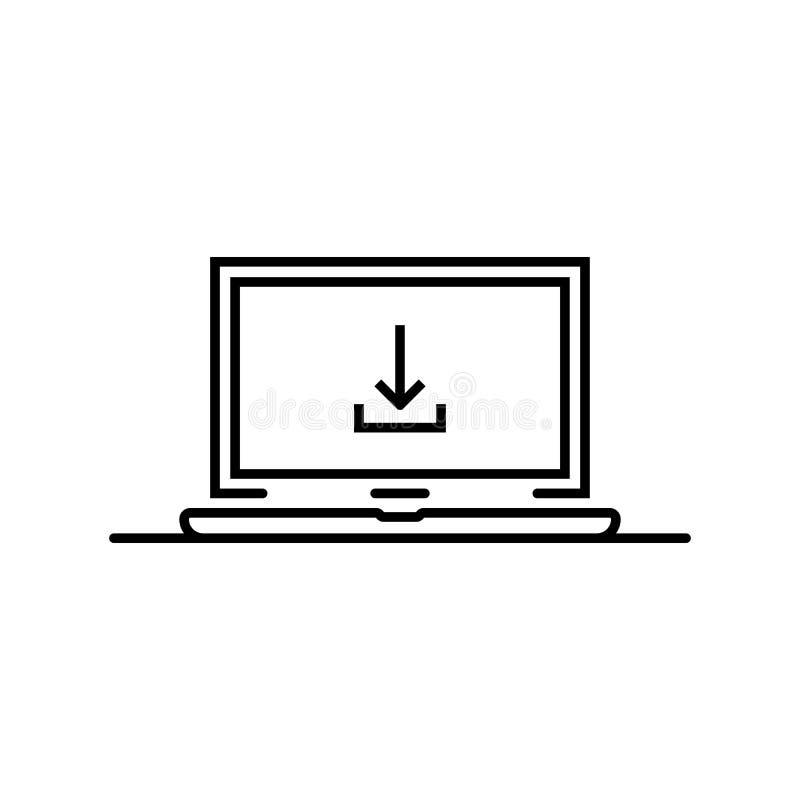 Freccia nera di download nella linea sottile computer portatile illustrazione di stock