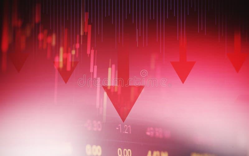 Freccia rossa di prezzi di crisi delle azione giù analisi di scambio del mercato azionario di caduta del grafico del grafico dei  illustrazione di stock