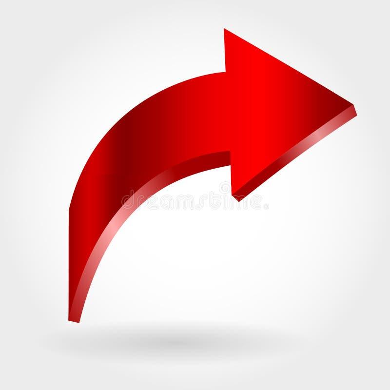 Freccia rossa e fondo bianco neutrale illustrazione vettoriale