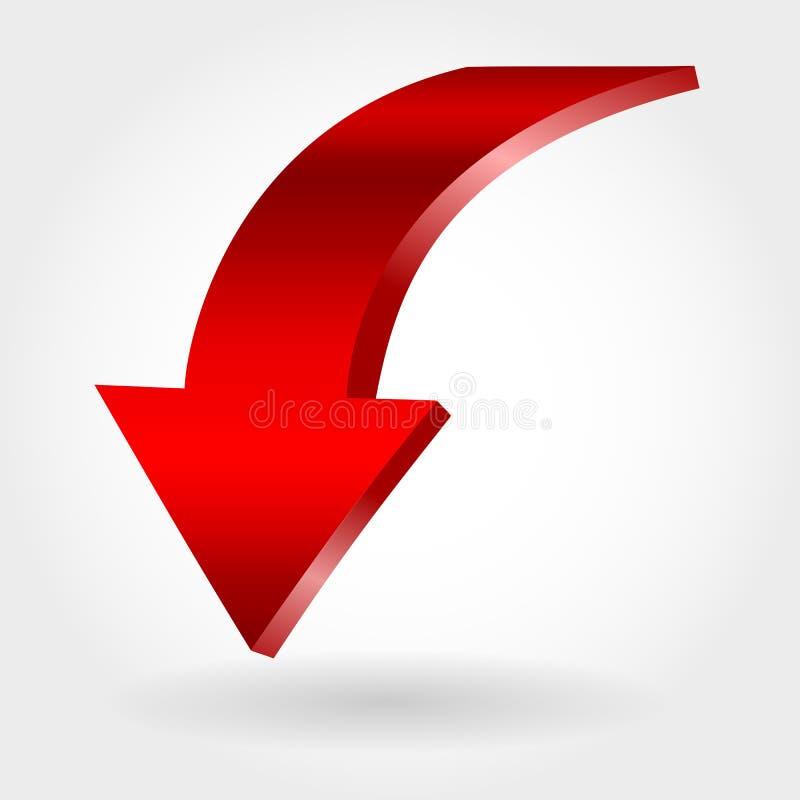 Freccia rossa e fondo bianco neutrale illustrazione di stock