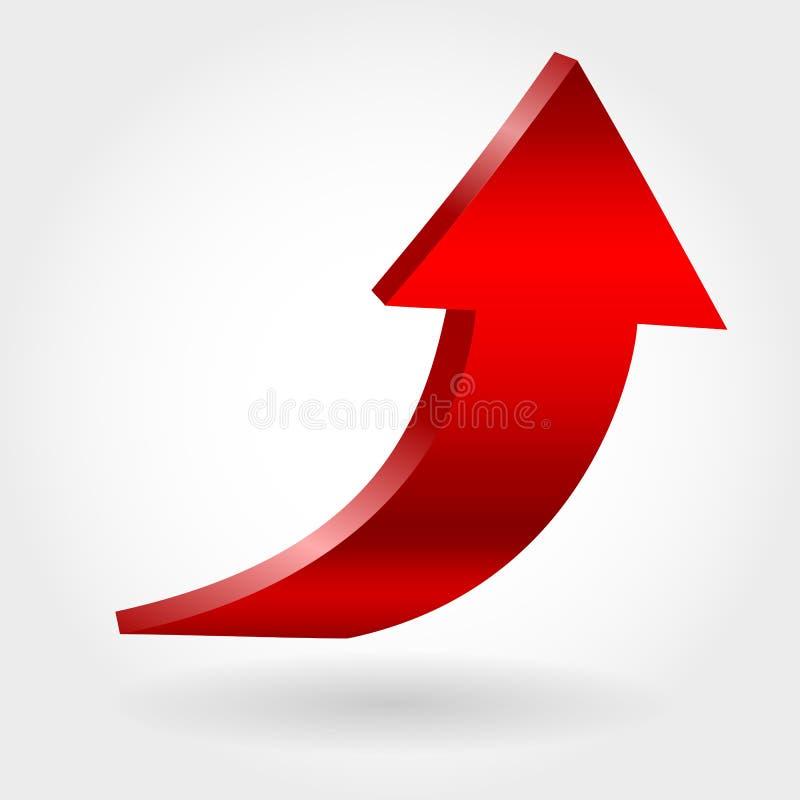 Freccia rossa e fondo bianco neutrale illustrazione 3D royalty illustrazione gratis