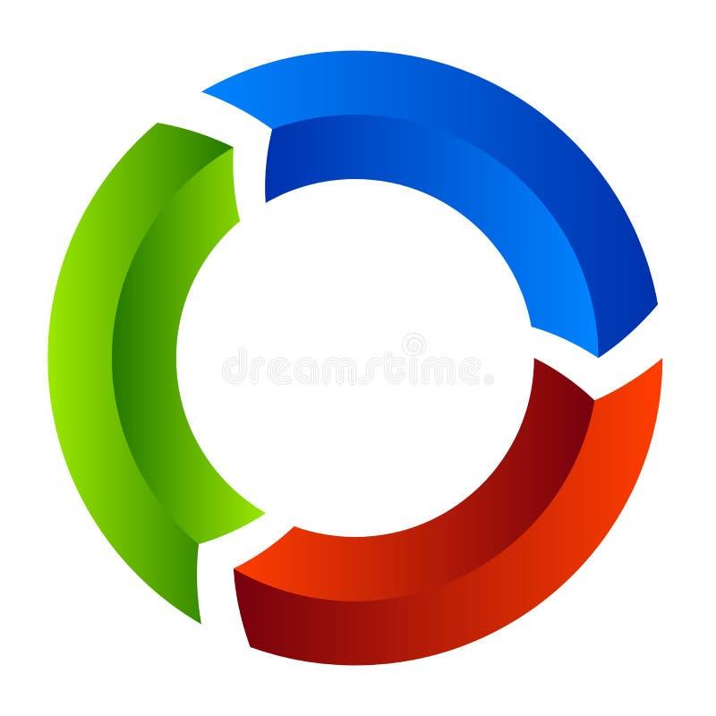 Freccia segmentata del cerchio Icona circolare della freccia Processo, progres, r illustrazione vettoriale