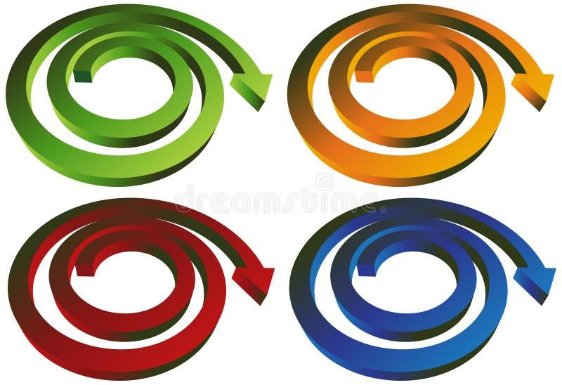 Freccia a spirale isometrica - un insieme di 4 illustrazione vettoriale