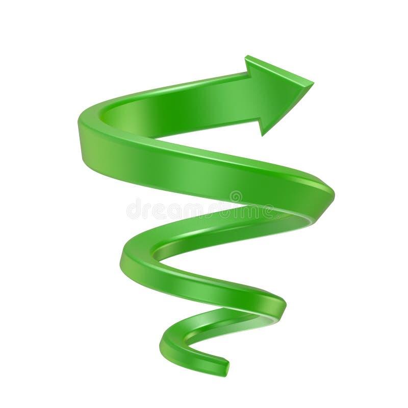 Freccia a spirale verde Vista laterale 3d rendono illustrazione vettoriale