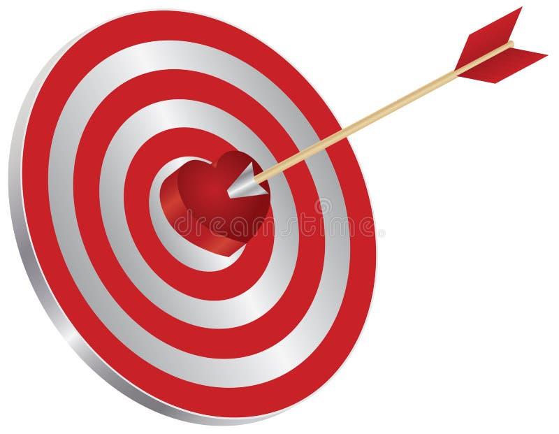 Freccia sull'illustrazione del centro del cuore dell'obiettivo illustrazione vettoriale