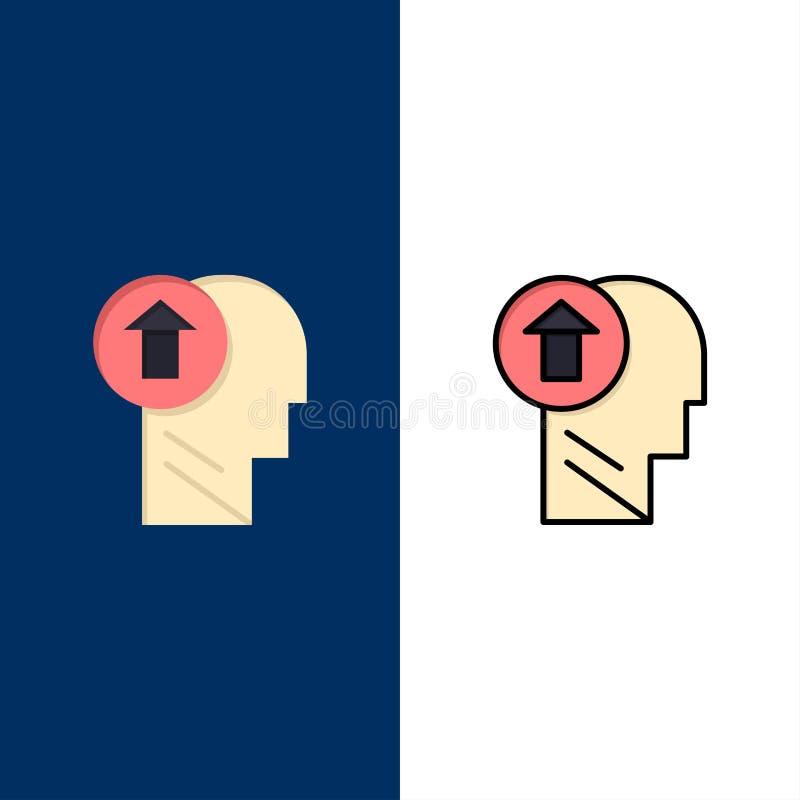 Freccia, testa, essere umano, conoscenza, mente, sulle icone Il piano e la linea icona riempita hanno messo il fondo blu di vetto illustrazione di stock